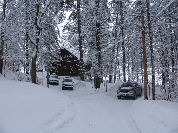 View down the driveway in winter